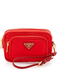 Prada Tessuto Small Pocket Crossbody Bag Red