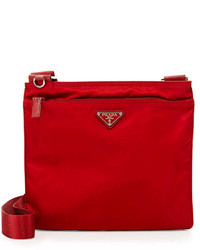 Prada Vela Flat Crossbody Bag Red