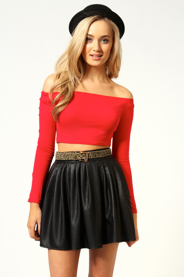 0c6ac27541c ... Red Off Shoulder Tops Boohoo Addison Long Sleeve Stretch Bardot ...