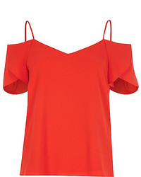 River Island Bright Red Cold Shoulder Frilly Sleeve Top