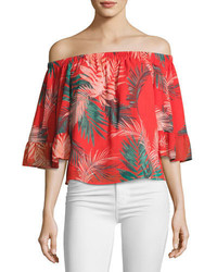 Rebecca Minkoff Faith Tropical Palm Off The Shoulder Top Red