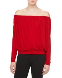 Michael Kors Georgette Jersey Off The Shoulder Top Crimson Michl Kors