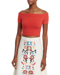 Alice + Olivia Gracelyn Off The Shoulder Cropped Top Light Red