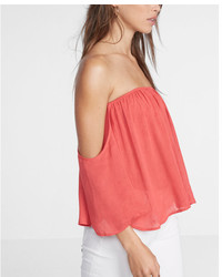 Express Off The Shoulder Smocked Bandeau Top
