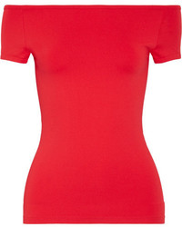 Helmut Lang Off The Shoulder Stretch Jersey Top Red