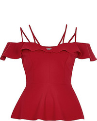 River Island Red Frilly Bardot Peplum Top