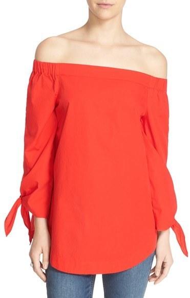 c760d32a04e $78, Free People Show Me Some Shoulder Off The Shoulder Cotton Blouse