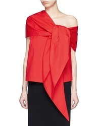 Isa Arfen Tie Front Drape Overlay One Shoulder Top