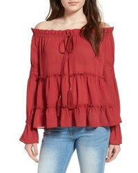 Sun & Shadow Tiered Off The Shoulder Blouse