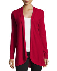 Neiman Marcus Cashmere Pleated Back Open Front Cardigan Scarlet Red