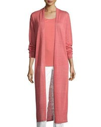 Eileen Fisher Fine Organic Linen Blend Maxi Cardigan Coral Plus Size