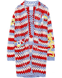 Mira Mikati Hooded Crocheted Wool Blend Cardigan Red