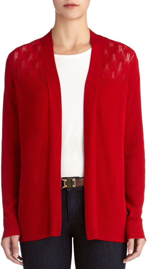 Red Open Front Cardigan Sleeve Open Front Cardigan