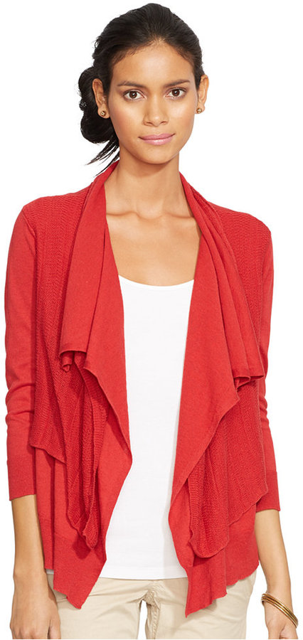 Red Open Front Cardigan Red Open Cardigan Lauren