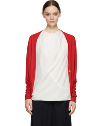 Lanvin Red Cashmere Cocoon Cardigan