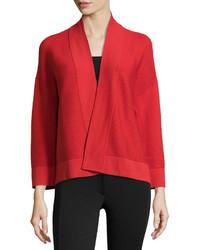 Natori Rib Knit Open Front Sweater Tomato Red