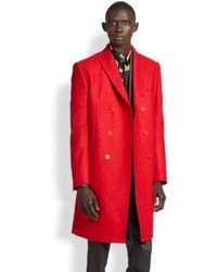 Versace Collection Double Breasted Stretch Wool Topcoat