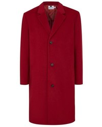 Topman Red Oversized Overcoat With Wool