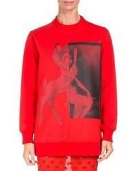 Givenchy Bambi Long Crewneck Sweatshirt Red