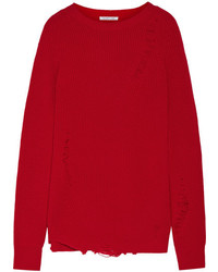 Helmut Lang Oversized Distressed Wool And Cashmere Blend Sweater Red