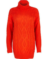 River Island Red Roll Neck Cable Knit Tunic