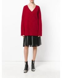 Stella McCartney Ribbed Oversized V Neck Sweater
