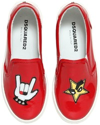 DSQUARED2 Patent Leather Sneakers Wpatches