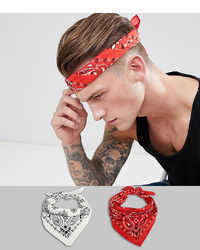 ASOS DESIGN 2 Pack Bandana In Red Paisley And White Paisley