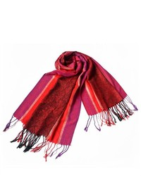 BlanchoBedding Pa 12 2 Bright Red Stripes Leaves Paisley Tassel Ends National Style Silky Pashminashawlscarf