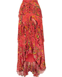 Etro Asymmetric Ruffled Printed Silk Crepon Maxi Skirt