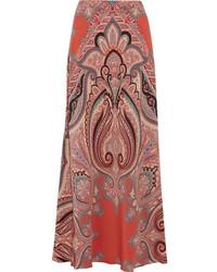 Etro Paisley Print Silk Maxi Skirt Coral