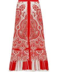 Alexander McQueen Paisley Print Silk Crepe De Chine Midi Skirt Red
