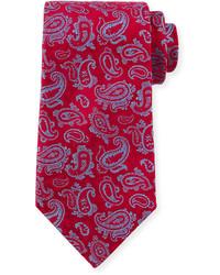 Paisley print silk tie redblue medium 335523