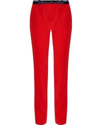 Lanvin Satin Trimmed Wool Twill Straight Leg Pants Red