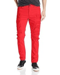 Southpole Long Twill Pant With Multiple Horizontal Rips In Carrot Fit