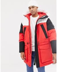 Tommy Hilfiger Colourblock Arctic Parka Jacket Sorona Ing In Red