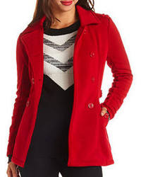 Charlotte Russe Double Breasted Fleece Pea Coat