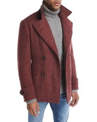Isaia Donegal Double Breasted Wool Mohair Pea Coat