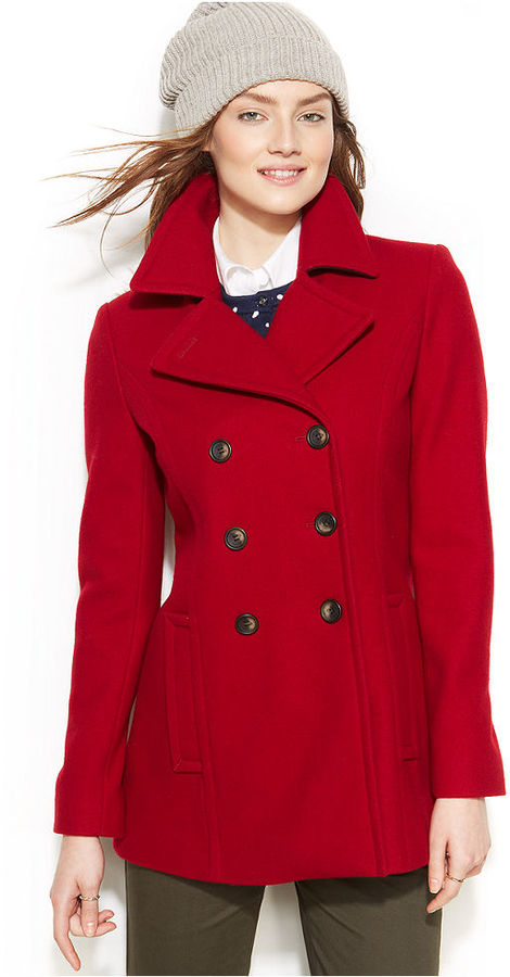 Womens military style pea coat