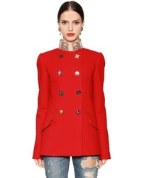 Dolce & Gabbana Double Wool Blend Crepe Peacoat