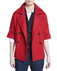 Brunello Cucinelli Half Sleeve Double Breasted Peacoat Poppy