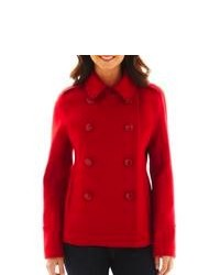 JCP Wool Blend Pea Coat Forever Red