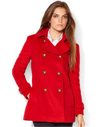 Lauren Ralph Lauren Metal Button Double Breasted Pea Coat