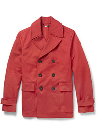 Hardy Amies Leather Trimmed Cotton Canvas Peacoat