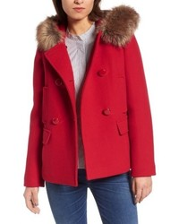 Kate Spade New York Faux Fur Trim Hooded Peacoat