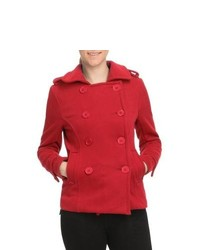 Pulp Double Breasted Pea Coat Red