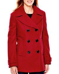 St Johns Bay St Johns Bay Wool Blend Pea Coat Tall