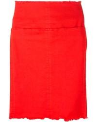 Aries Raw Edged Straight Skirt