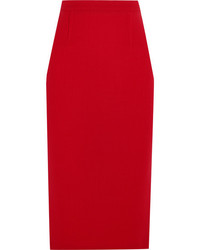 Roland Mouret Arreton Wool Crepe Pencil Skirt Red