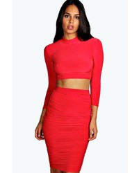 Boohoo Leah Red Slinky Ruched Side Midi Skirt